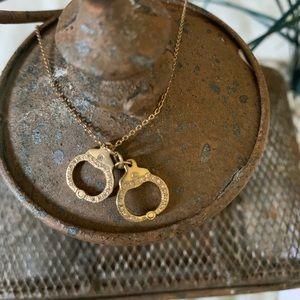 Lizzie Scheck Pave Handcuff Necklace 14k Yellow